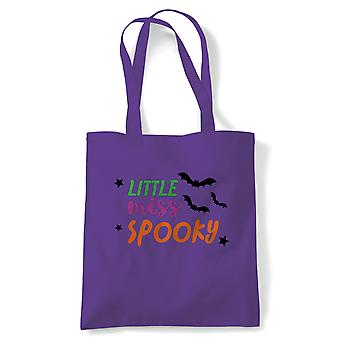 Little Miss Spooky Tote | Halloween Fancy Dress Costume Trick Or Treat | Reusable Shopping Cotton Canvas Long Handled Natural Shopper Eco-Friendly Fashion