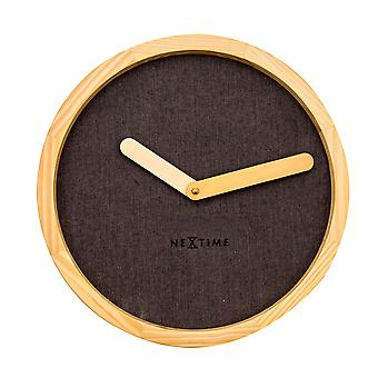 NeXtime - Wall clock – Ø 30 cm - Wood & Fabric - Brown - 'Calm'