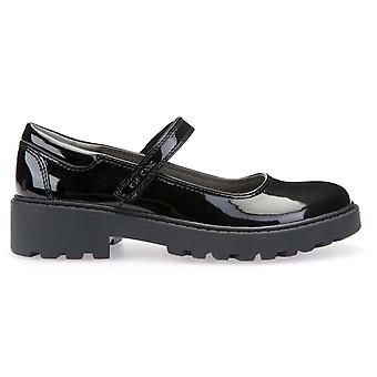 Geox Girls Casey MJ J6420P School Shoes Black Patent