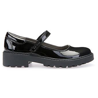 J6420P Mädchenschule Casey MJ Geox Schuhe Schwarz Lack