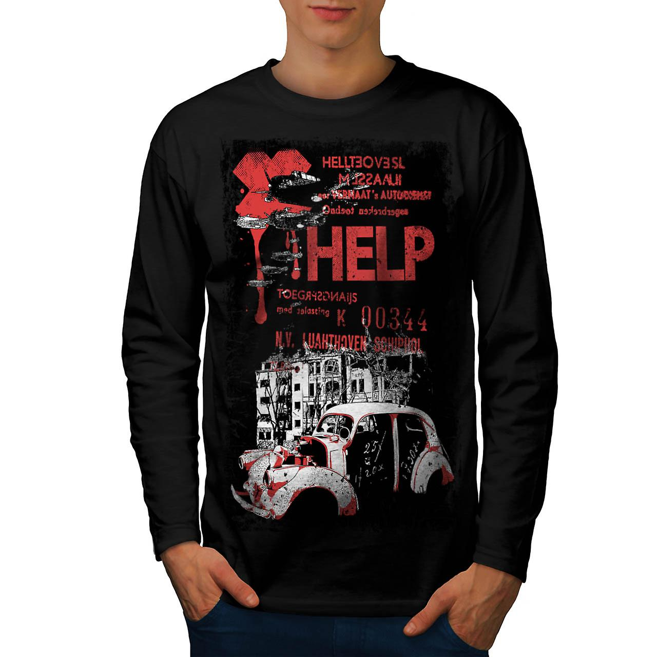 Help Hell City Fashion Men Black Long Sleeve T-shirt | Wellcoda