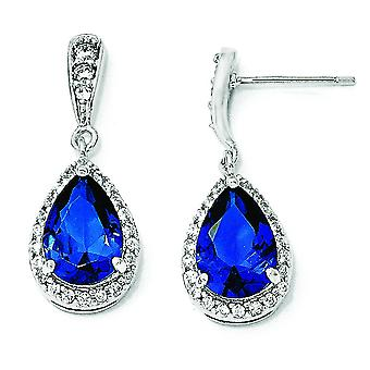 Sterling Silver CZ synthétique bleu spinelle Post oreille