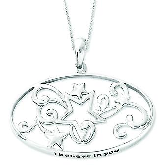 Sterling Silver Antiqued I Believe In You 18in Star Necklace - 3.5 Grams