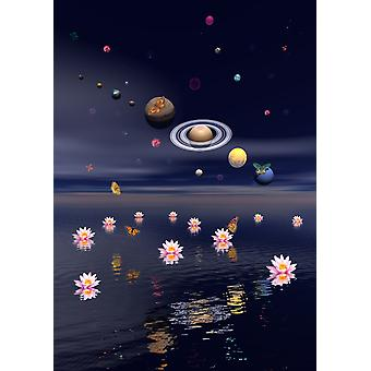Planets of the solar system surrounded by several nebulae planets and flying butterflies upon the ocean covered with lotus flowers Poster Print