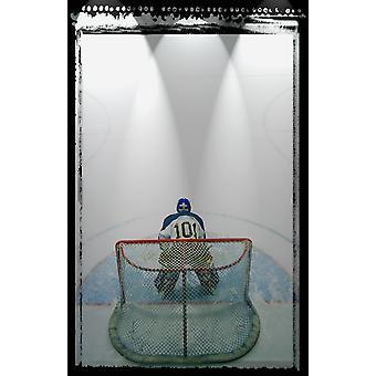 Hockey Goalie In piega PosterPrint