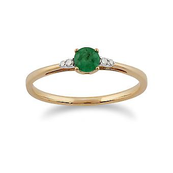 Gemondo 9 kt gult gull 0.29ct eneste stein Emerald & Diamond Ring