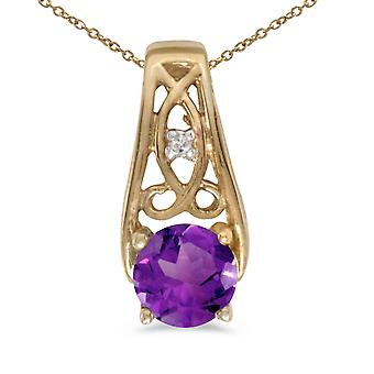 10k Yellow Gold Round Amethyst And Diamond Pendant with 16