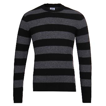 Edwin Standard Bar Black & Charcoal Striped Crew Neck Sweater