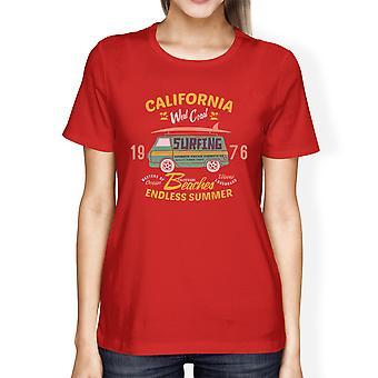 Californië stranden eindeloze zomer Womens rode Vintage Design Tee