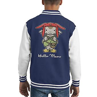 Hello Meow Space Dandy Kitty Kid's Varsity Jacket