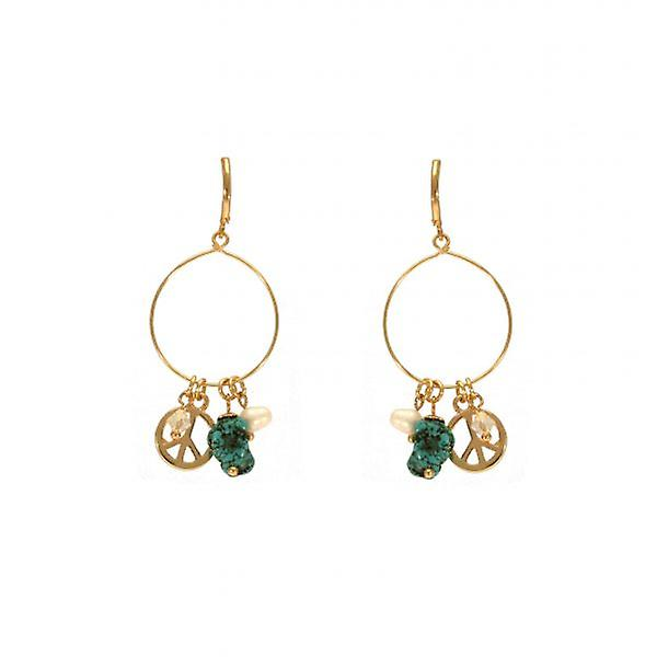W.A.T Turquoise And Peace Symbol Charm Fashion Earrings