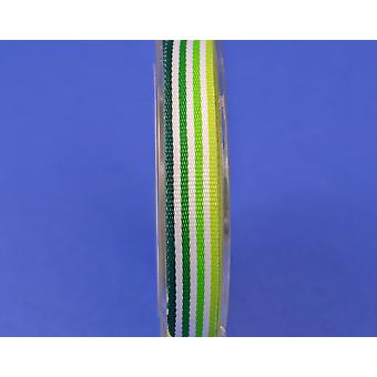 9.5mm Green Striped Grosgrain Craft Ribbon - 8m Reel | Ribbons & Bows for Crafts