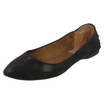 Дамы пятно на плоской остроконечное балерина обувь F8862