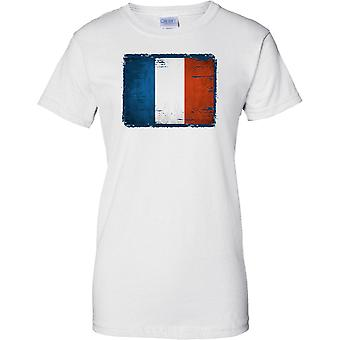 France Grunge Grunge Effect Flag - Tricolor - Ladies T Shirt