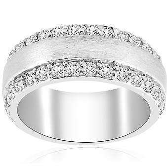 CT de 2 3/4 Double rangée brossé large mariage anniversaire Ring 14K White Gold