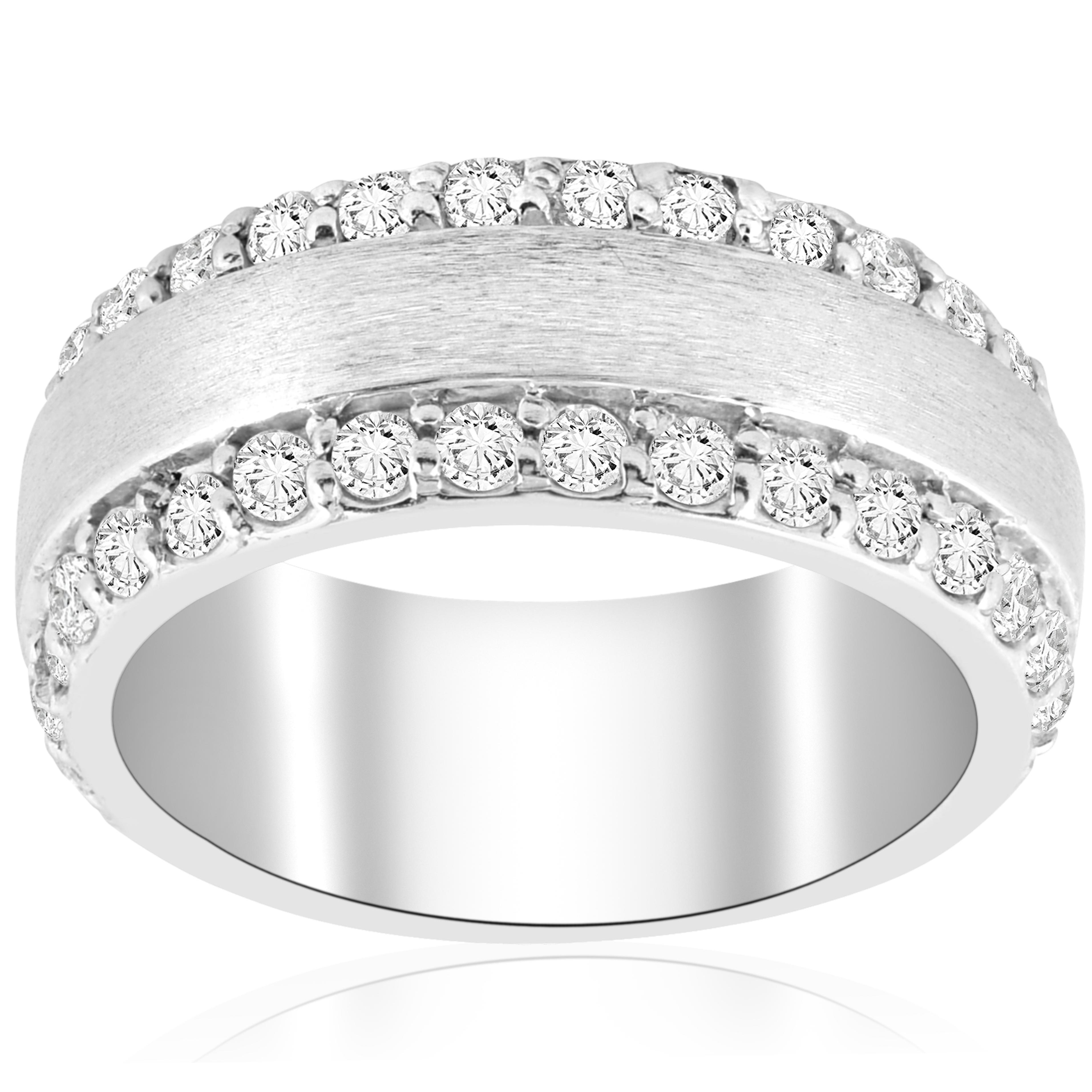2 3 4 CT Double Row Brushed Wide Wedding Anniversary Ring 14K blanc or