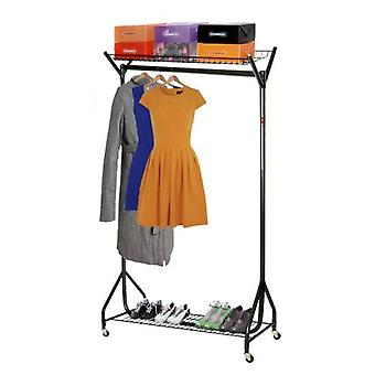 Spacesaving 4' All Black Clothes Rail with Top & Bottom Shelves