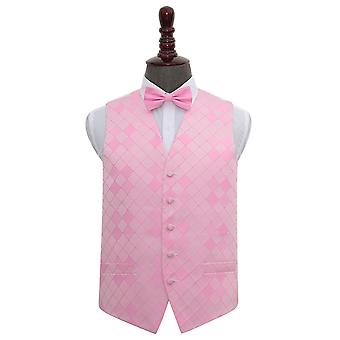 Light Pink Diamond Wedding Waistcoat & Bow Tie Set