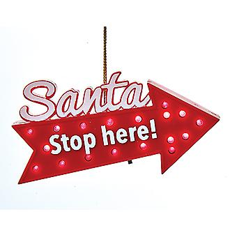 Santa stoppe her retningsbestemt piletasterne LED lyser Christmas Holiday Ornament