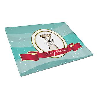 Wire Haired Fox Terrier Merry Christmas Glass Cutting Board Large