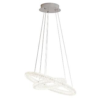Searchlight 31610-2CC Circle Looped Ceiling Pendant Light In Chrome And Crystal Glass - Width: 540mm