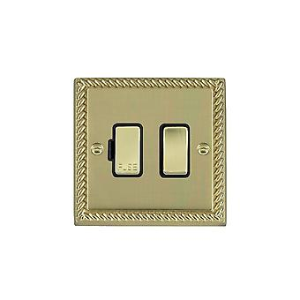 Hamilton Litestat Cheriton Georgian Polished Brass 1g 13A DP Fused Spur PB/BL