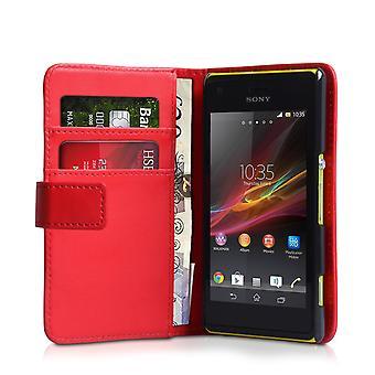 Yousave tillbehör Sony Xperia M effekt plånbok läderfodral - röd