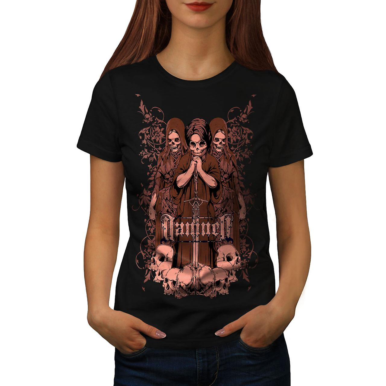 Damned Saint Horror Skull Women Black T-shirt | Wellcoda