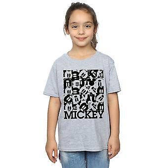 Disney Girls Mickey Mouse Grid T-Shirt