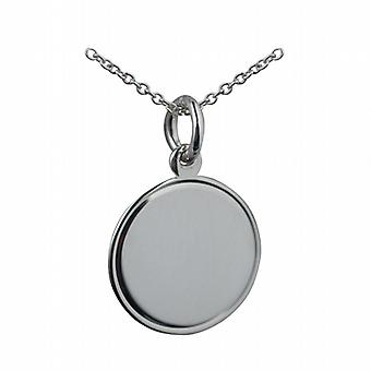 Silver 17mm round engine turned line border Disc on a rolo Chain 24 inches