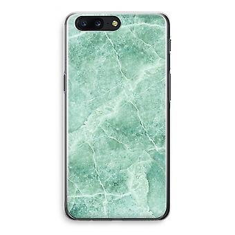 OnePlus 5 Transparant Case - Green marble