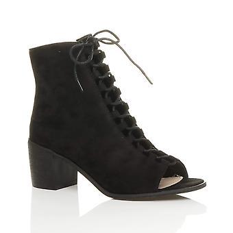 Ajvani womens block mid low heel lace up ghillie zip peep toe zip ankle boots shoes