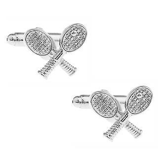 Tennis Sports Cufflinks Silver Tone Racquets & Ball Wimbledon Inspired Gift