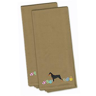German Pinscher Easter Tan Embroidered Kitchen Towel Set of 2