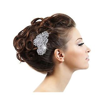 Accessory wedding comb hair feather of Peacock in Crystal white