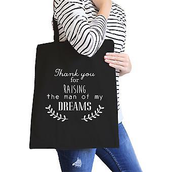 Raising My Man Black Canvas Shoulder Bag For Mother In Law