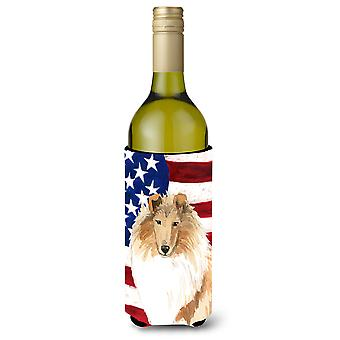 Patriotic USA Rough Collie Wine Bottle Beverage Insulator Hugger