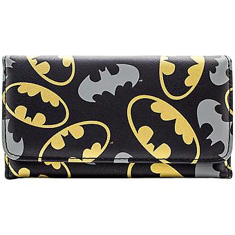 DC Batman Gold & Emblems Tri-Fold Purse