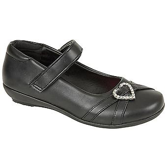 Infant Girls Touch Fastening Heart Diamante Trim School Bar Formal Shoes