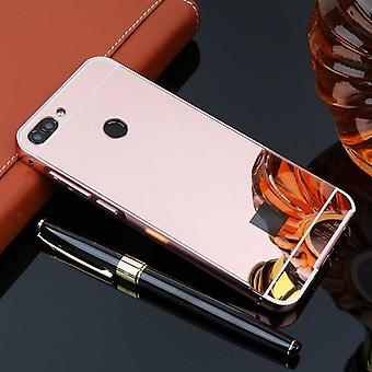 Espejo / espejo aluminio tope 2 piezas con cubierta rosa para caso de bolsillo inteligente Huawei P
