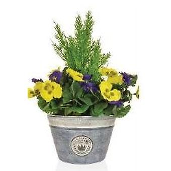 Artificial Cedar and Pansies in a Planter
