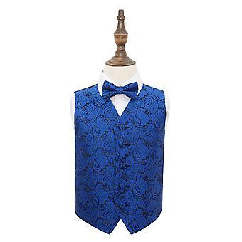 Gilet de mariage bleu roi Paisley & ensemble de noeud de cravate pour les garçons