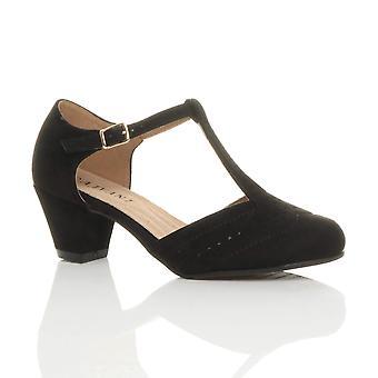 Ajvani kvinners midt lav blokkere hæl t-bøylen aksent komfort gummi eneste retten sko sandaler