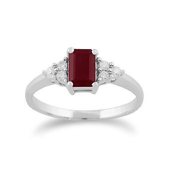 9ct hvitt gull 0,66 ct naturlig Ruby & Diamond eneste stein Ring