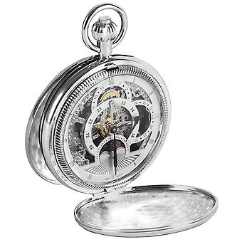 Woodford Chrome Plated Twin Time Zone Double Full Hunter Skeleton Mechanical Pocket Watch - Silver