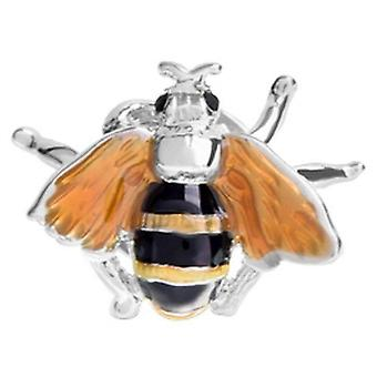 David Van Hagen Bee Design Enamel Lapel Pin - Silver/Black/Yellow