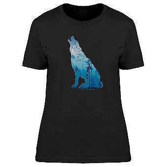 Howling Wolf Blue Landscape Tee Women's -Image by Shutterstock