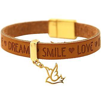 Gemshine - vrouwen - armband - vrede - duif - wings - goud vergulde 925 zilver - goud verguld Brown - magnetische lock - wensen-