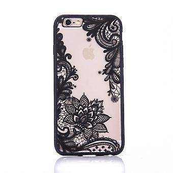 Mandala affaire mobile pour Apple iPhone 7 design housse motif fleur la couverture de l'affaire pare-chocs noir