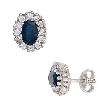 Sapphire earrings 925 sterling silver rhodium plated 24 cubic zirconia 2 Safire blue earrings